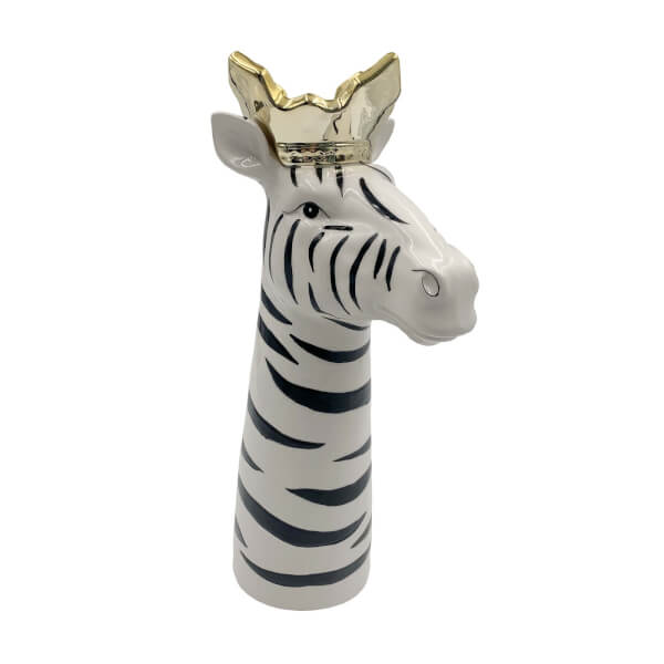 Zayne Zebra Vase with Crown