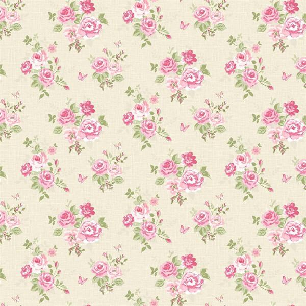 Grandeco  Butterfly Rose Bloom Pink Wallpaper