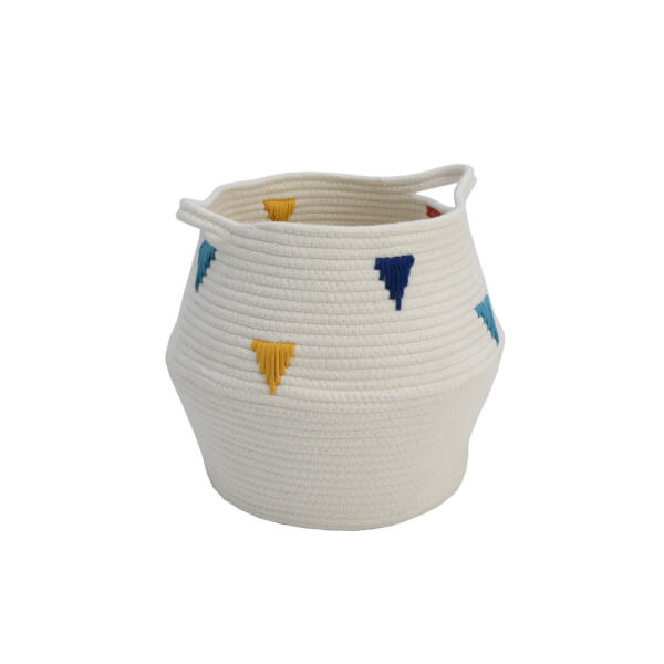 Cotton Rope Basket with Triangle Design