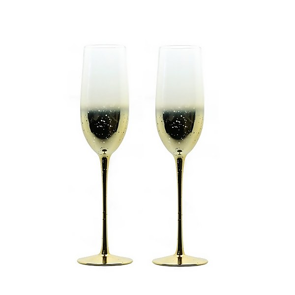Champagne Flutes - Set of 2 - Champagne Gold