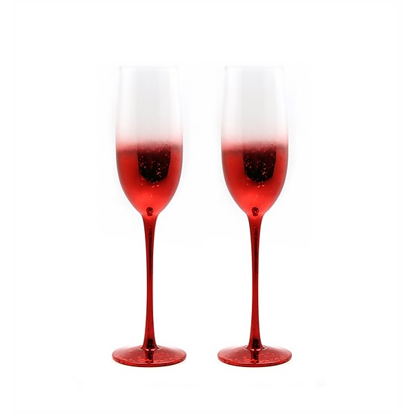 Champagne Flutes - Set of 2 - Red