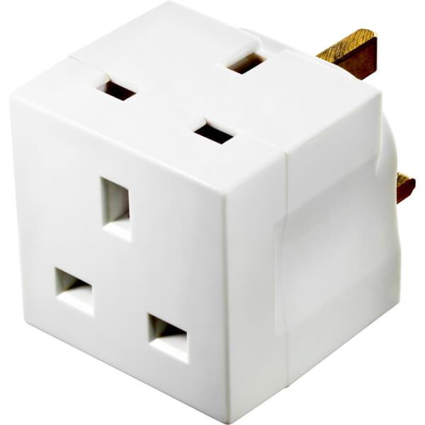 Masterplug 2 Socket Fused Adaptor White
