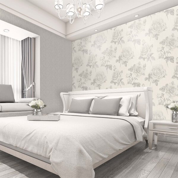 Belgravia Decor Amara Soft Silver Rose Wallpaper