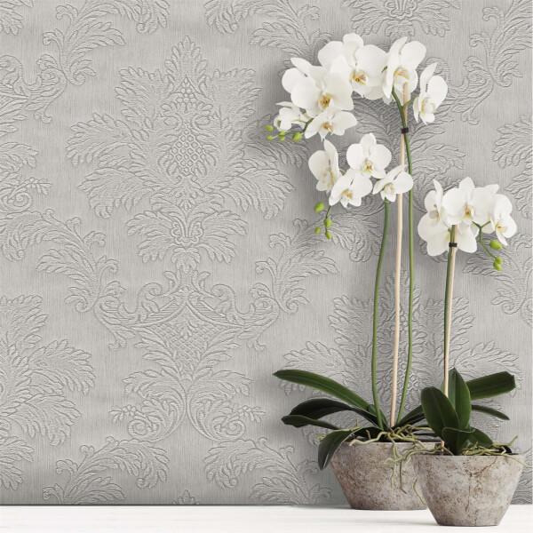 Belgravia Decor Tilly Silver Damask Wallpaper