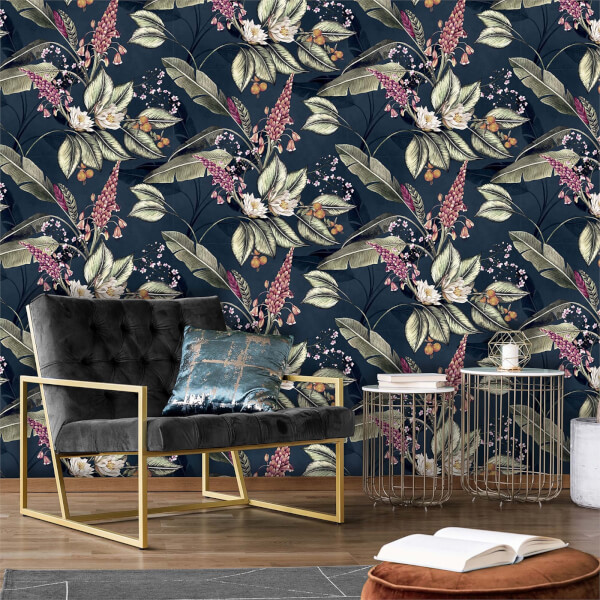 Belgravia Decor Paradise Garden Navy Wallpaper