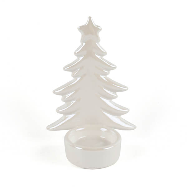 Pearl White Ceramic Christmas Tree Candle Holder