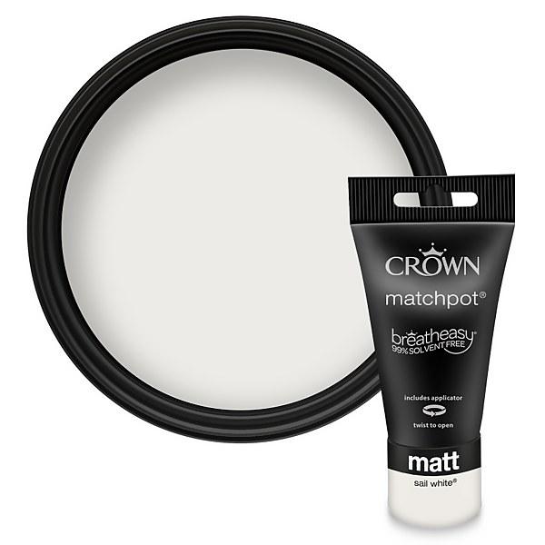 Crown Breatheasy Sail White - Matt Emulsion Paint - 40ml Tester