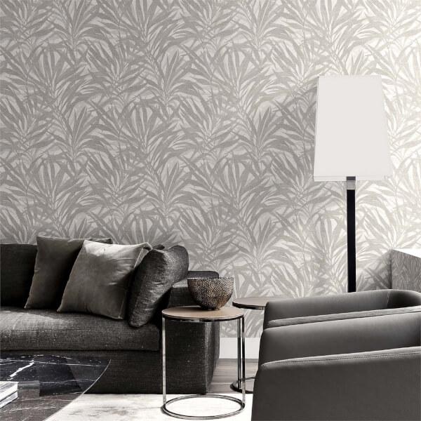 Belgravia Decor Palm Grey/Silver Wallpaper