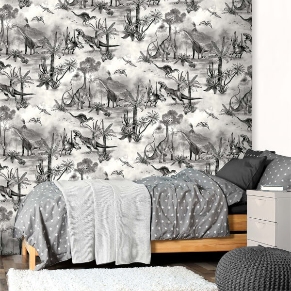 Belgravia Decor Dino Kingdom Mono Wallpaper