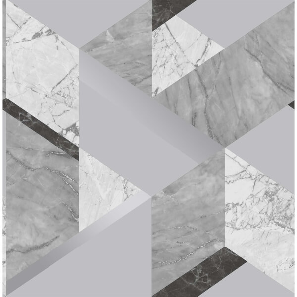Fresco Marblesque Geometric Wallpaper - Grey