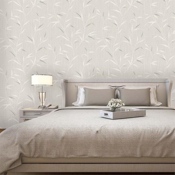 Belgravia Decor Amelie Beige Leaf Wallpaper