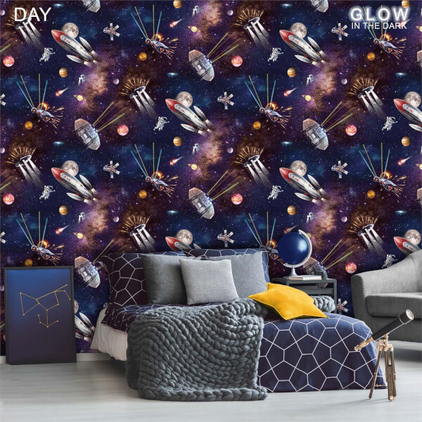 Belgravia Decor Outer Space Glow In The Dark Wallpaper