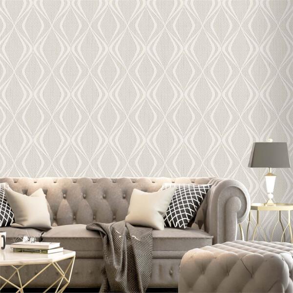 Belgravia Decor Amelie Beige Geometric Wallpaper