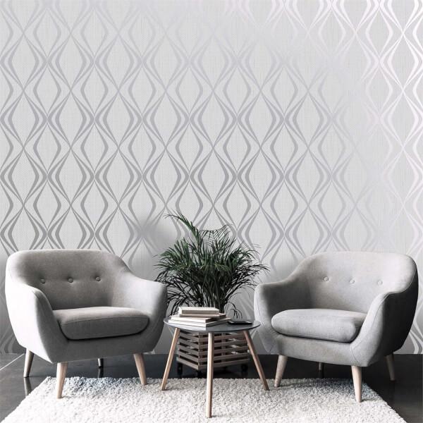Belgravia Decor Amelie Grey Geometric Wallpaper