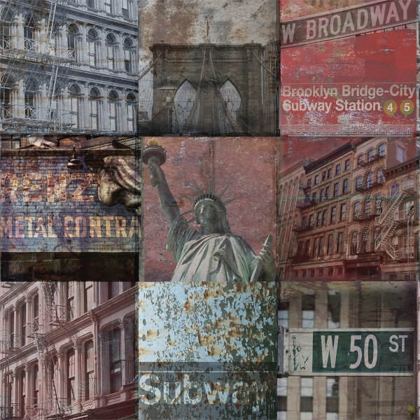 Grandeco Life Digital Mural New York Patchwork - Multi
