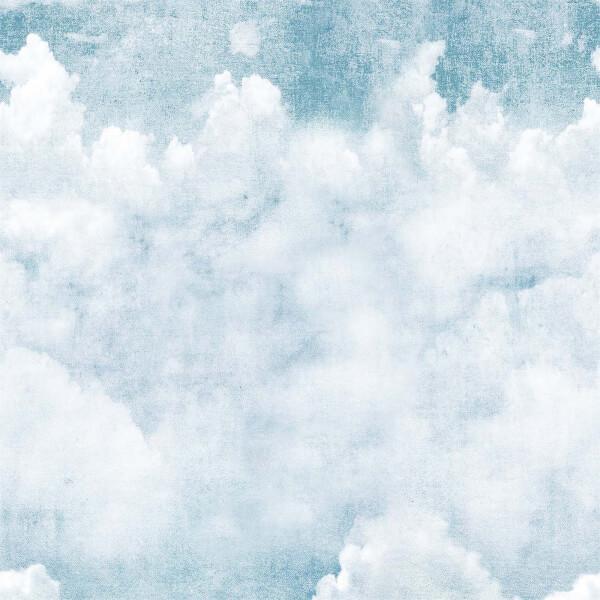 Grandeco Life Digital Mural Blue Clouds - Blue