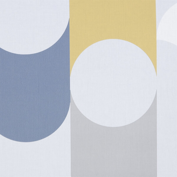 Fresco Retro Geometric Wallpaper - Navy / Yellow