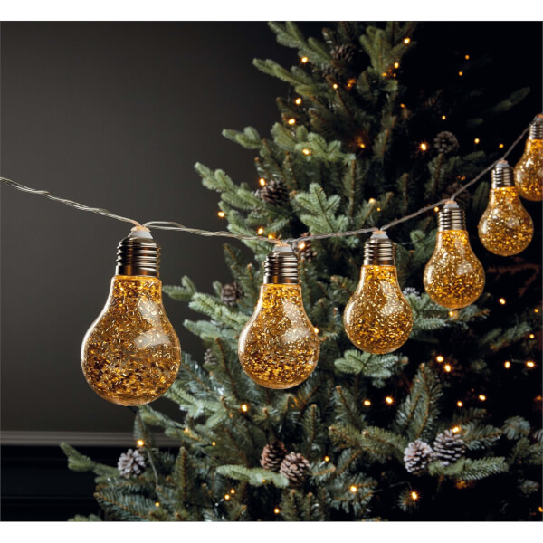 10 Gold Glitter Bulb String Lights (Battery Operated)
