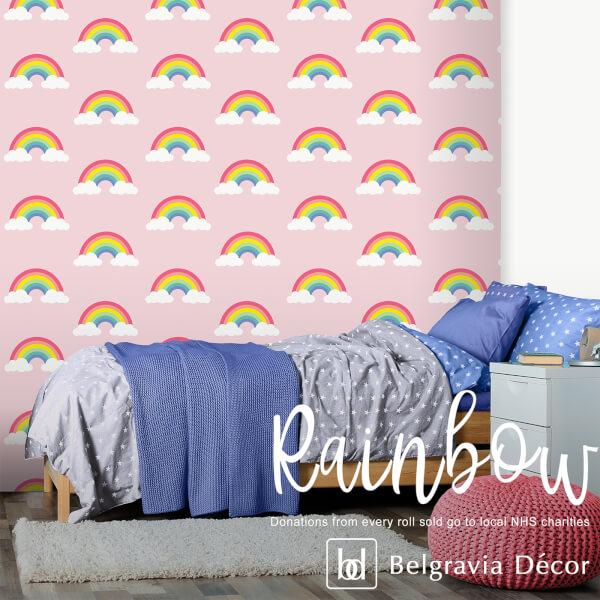Belgravia Decor Rainbow Pink Wallpaper (supporting NHS charities)