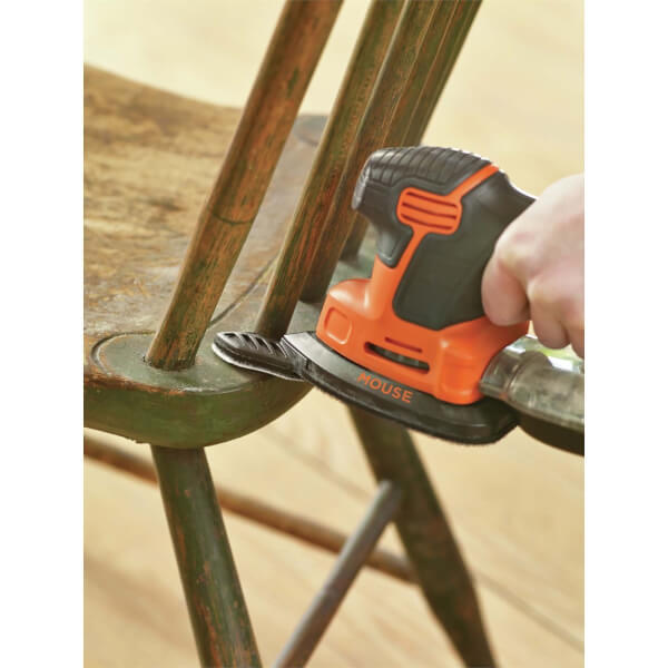 BLACK+DECKER 120W Corded Detail Mouse Sander with 6x Accessories and Storage Bag (KA2000-GB)