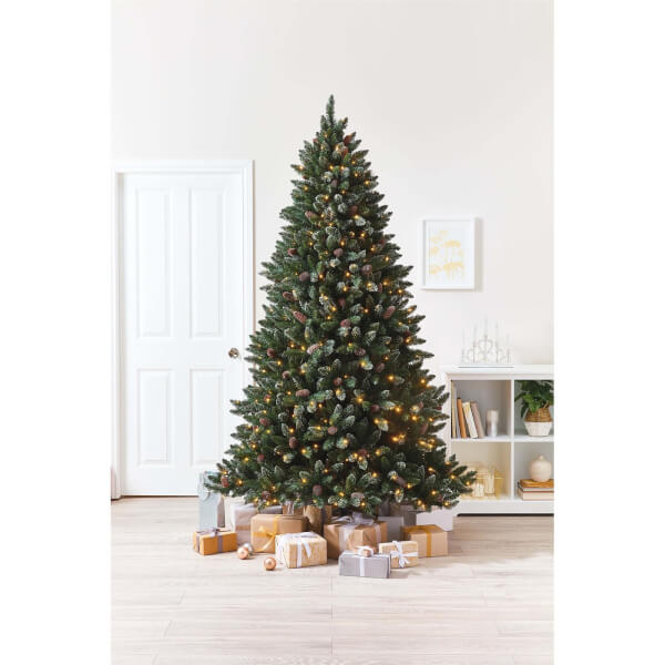 7.5ft Glitter Tipped Pre-Lit and Pre-Decorated Christmas Tree