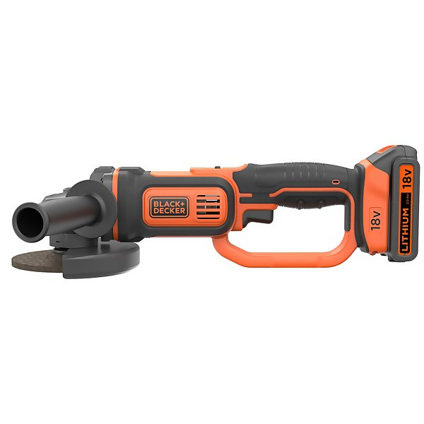 BLACK+DECKER 125MM 18V Cordless Angle Grinder with 3 Discs (BCG720D13-GB)
