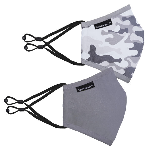Dreambaby Reusable Camouflage/Grey Face Masks (Youth) - 2 Pack