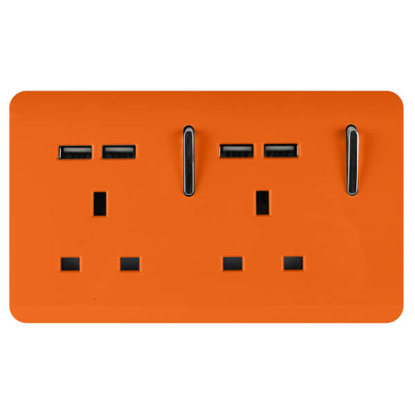 Trendi Switch 2 Gang 13Amp Socket (inc. USB ports) in Orange