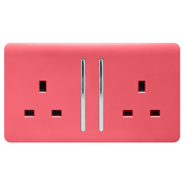 Trendi Switch 2 Gang 13Amp Long Switched Socket in Strawberry