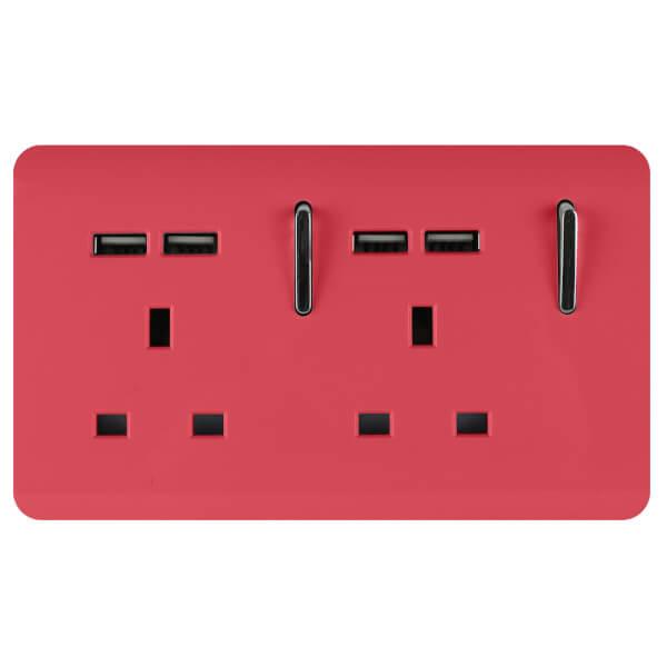 Trendi Switch 2 Gang 13Amp Socket (inc. USB ports) in Strawberry