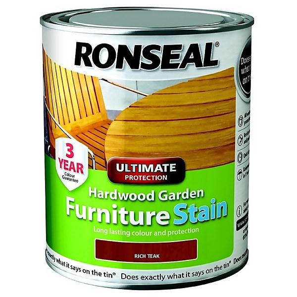 Ronseal Hardwood Garden Furniture Stain Rich Teak - 750ml