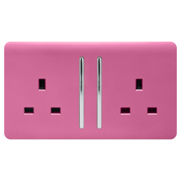 Trendi Switch 2 Gang 13Amp Long Switched Socket in Pink