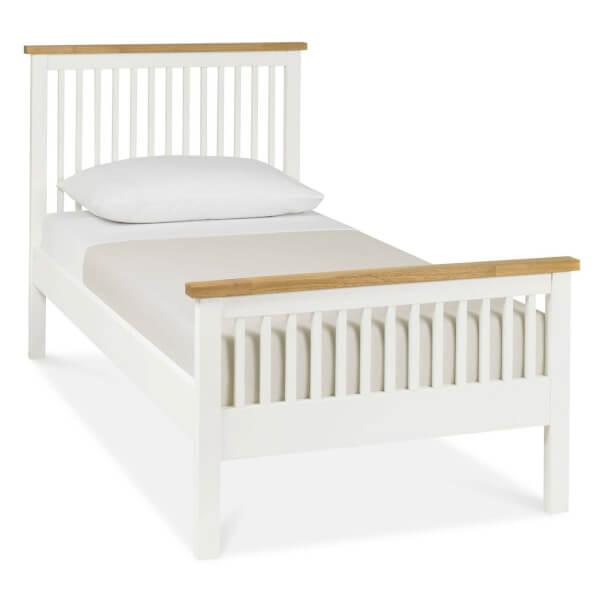 Atlanta Single Bed Frame - White & Oak