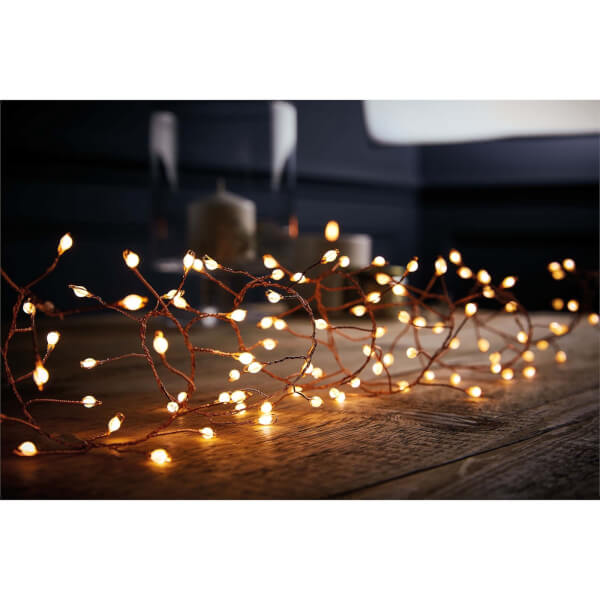 240 Gold Wire Garland Lights Large LED Warm White