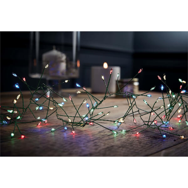 480 Green Wire Cluster Lights Multicolour