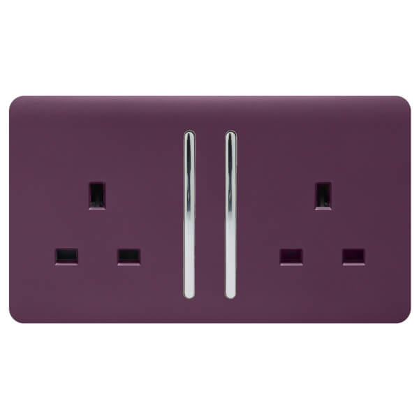 Trendi Switch 2 Gang 13Amp Long Switched Socket in Plum