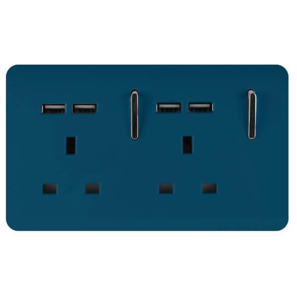 Trendi Switch 2 Gang 13Amp Socket (inc. USB ports) Midnight Blue