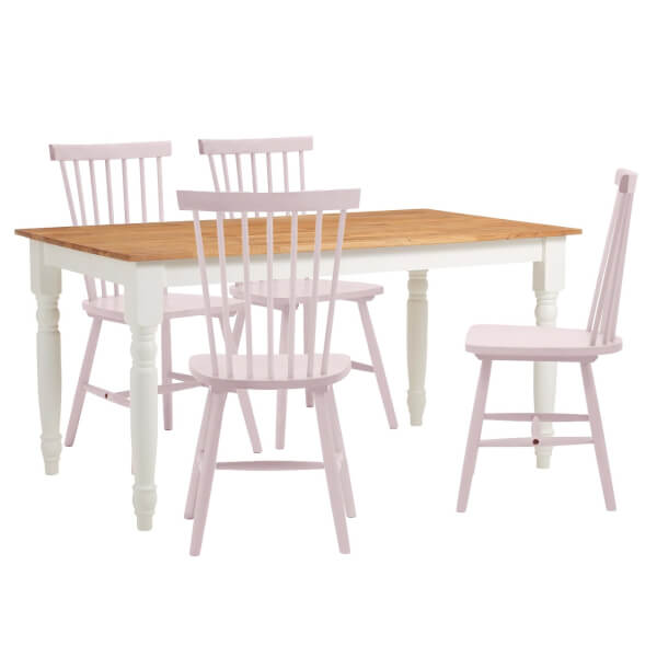 Laura 4 Seater Dining Set - Lilac Spindle Chairs