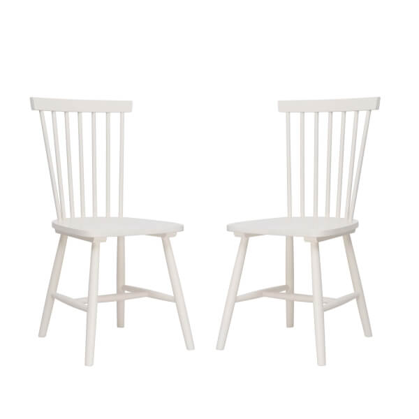 Laura Spindle Back Chair - Set of 2 - Ivory