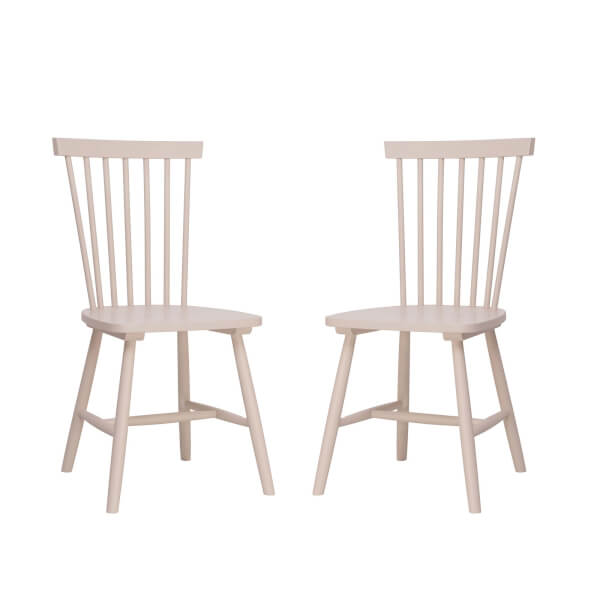 Laura Spindle Back Chair - Set of 2 - Dusty Pink