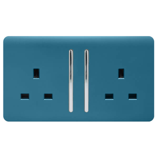 Trendi Switch 2 Gang 13Amp Long Switched Socket in Ocean Blue