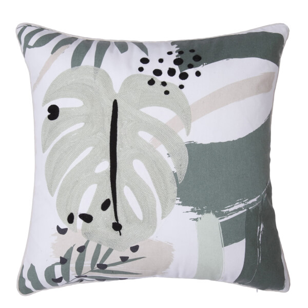 Abstract Floral Cushion - Green & Blush