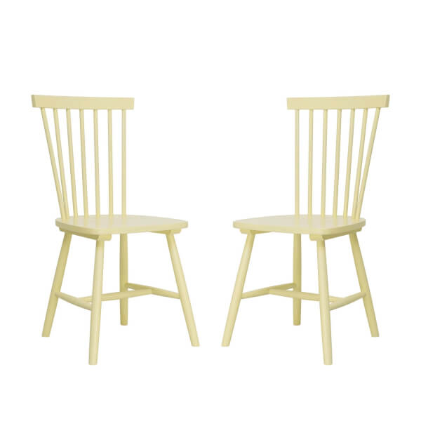 Laura Spindle Back Chair - Set of 2 - Lemon