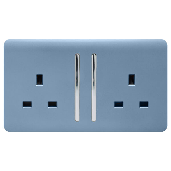 Trendi Switch 2 Gang 13Amp Long Switched Socket in Sky