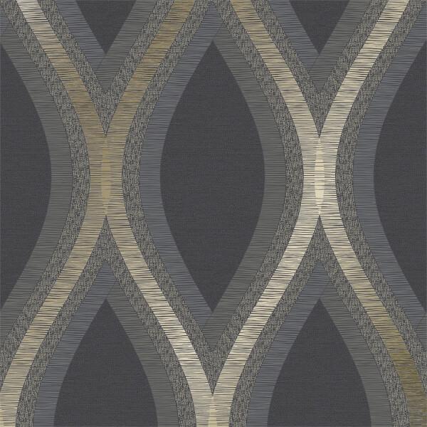 Grandeco Strata Black Wallpaper