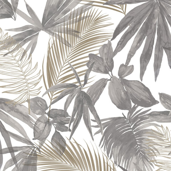Grandeco Wild Palms Charcoal Wallpaper