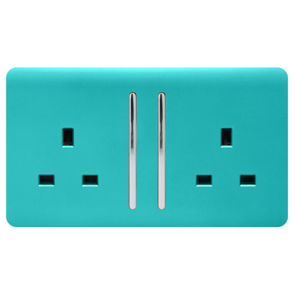 Trendi Switch 2 Gang 13Amp Long Switched Socket in Bright Teal