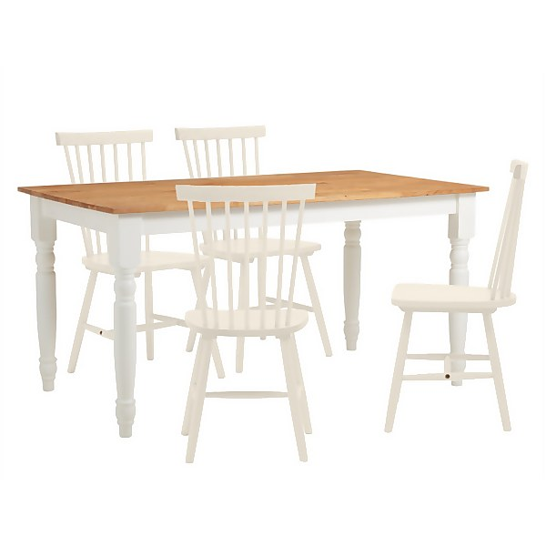Laura 4 Seater Dining Set - Ivory Spindle Chairs