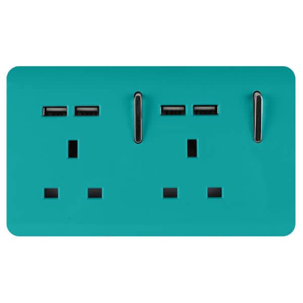 Trendi Switch 2 Gang 13Amp Socket (inc. USB ports) in Bright Teal