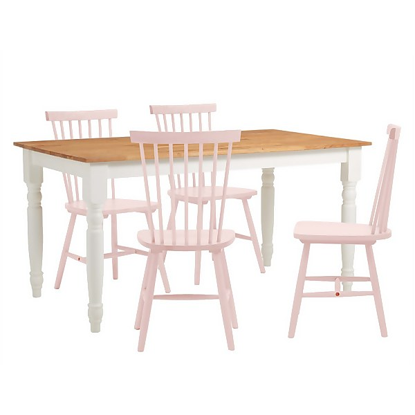 Laura 4 Seater Dining Set - Pink Spindle Chairs